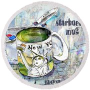 Starbucks Mug New York Round Beach Towel
