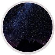 Stars Over Black Oak Lake 1 Round Beach Towel