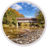 State Road Covered Bridge Round Beach Towel