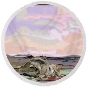 Statue Of A Horse From Branches Round Beach Towel