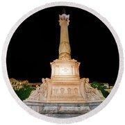 Statue Of Dom Pedro Iv Round Beach Towel