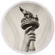 Statue Of Liberty, 1876 Round Beach Towel