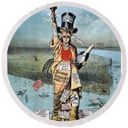 Statue Of Liberty Cartoon Round Beach Towel