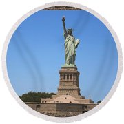 Statue Of Liberty New York America July 2015 Photo By Navinjoshi At Fineartamerica.com  Island Landm Round Beach Towel