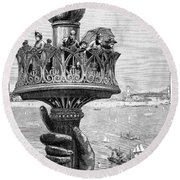 Statue Of Liberty: Torch Round Beach Towel