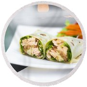 Steamed Salmon And Salad Wrap Round Beach Towel