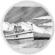 Steamship Virginia V Round Beach Towel