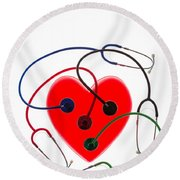 Stethoscopes And Plastic Heart Round Beach Towel