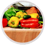 Still Life - Vegetables Round Beach Towel