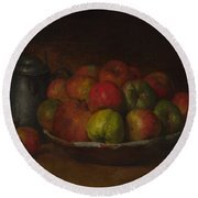 Still Life With Apples And A Pomegranate Round Beach Towel