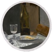 Still Life With Bottle Carafe Bread And Wine Round Beach Towel