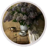Still Life With Bouquet Of Fresh Lilacs Round Beach Towel