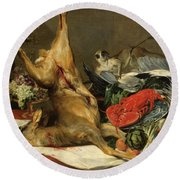 Still Life With Dead Game, A Monkey, A Parrot, And A Dog Round Beach Towel