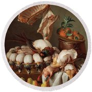 Still Life With Dressed Game, Meat And Fruit Round Beach Towel