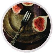 Still Life With Fresh Figs Round Beach Towel