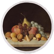 Still Life With Fruit And Nuts Round Beach Towel
