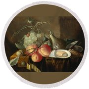 Still Life With Fruit And Oysters On A Table Round Beach Towel