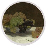 Still Life With Grapes And A Carnation Round Beach Towel