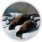 Still Life With Pheasants And Plovers Round Beach Towel
