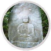 Stone Buddha  Round Beach Towel