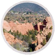 Stone Quarry At Red Rock Canyon Open Space Park Round Beach Towel