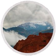 Storm Brewing At Garden Of The Gods Round Beach Towel