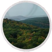 Storm Clouds Over Fall Nature Scenery Round Beach Towel
