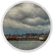 Storm Clouds Over The Bass River Round Beach Towel