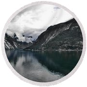 Storm In The Fiord Round Beach Towel