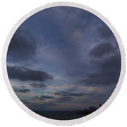Storm Over Cleveland Round Beach Towel