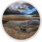 Storms Over Upper Waterton Lake Round Beach Towel