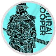 Stormtrooper - Star Wars Art - Blue Round Beach Towel