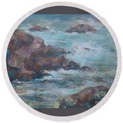 Stormy Sea Seascape Round Beach Towel