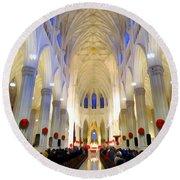 St.patricks Cathedral Restored Round Beach Towel