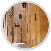 Street Sceane Mdina,malta Round Beach Towel