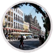 Streets Of Puebla 5 Round Beach Towel