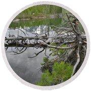 String Lake Reflection Round Beach Towel