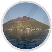 Stromboli Volcano, Aeolian Islands Round Beach Towel