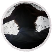 Student Holding His Head Looking At Complex Math Formulas On Whiteboard Round Beach Towel
