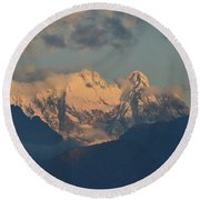 Stunning Landscape In The Italian Alps With A Cloudy Sky  Round Beach Towel