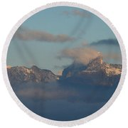 Stunning View The Dolomites Mountains In Italy Round Beach Towel