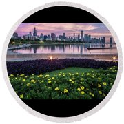 summer flowers and Chicago skyline Round Beach Towel