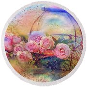 Summer Flowers Round Beach Towel