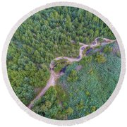 Summer Time Lake And Green Forest, In Poland Lanscape. Round Beach Towel