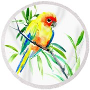 Sun Parakeet Round Beach Towel