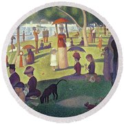 Sunday Afternoon On The Island Of La Grande Jatte Round Beach Towel by Georges Pierre Seurat