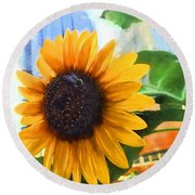 Sunflower In The City Round Beach Towel