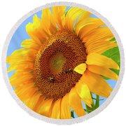 Sunflower Joy Round Beach Towel