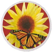 Sunflower Monarch Round Beach Towel