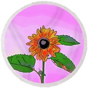 Illustration Of A Sunflower On A Pink Background Round Beach Towel